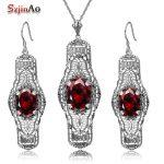 Szjinao 925 <b>Silver</b> Sets Wedding Costume Accessories Garnet Bridal <b>Earrings</b> /Pendant Jewelry Sets For Brides Wholesale