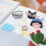14 Colors New 2PCS Fashion Cute Acrylic Collar Pin Badge Corsage Cartoon Brooch <b>Jewellery</b> DIY <b>Decor</b> Brooches Brooches For Women