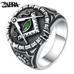 ZABRA Vintage 925 Silver Ring Mens Green Cubic Zirconia Masonic Rings For Men Punk Cool Gift Sterling Silver Symbols <b>Jewelry</b>