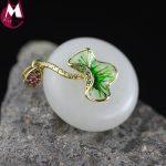 24MM Round Natural White Jade Necklace Pendant Enamel Burn Blue Lotus Leaves Fine Genuine 925 <b>Sterling</b> <b>Silver</b> <b>Jewelry</b> SP61
