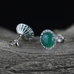 The character of the original design S925 silver <b>handmade</b> sterling silver <b>jewelry</b> simple lady Chrysoprase Earrings