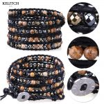 KELITCH Bracelets <b>Jewelry</b> Synthetic Stone Beaded Hematite Beads Soft Black Leather Wrap <b>Handmade</b> Women Bracelet custom logo bead