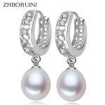 ZHBORUINI 2017 <b>Fashion</b> Pearl Earrings Natural Freshwater Pearl 925 Sterling Silver Pearl Dangle Earrings <b>Jewelry</b> For Woman Gift