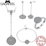 GAGAFEEL Authentic 100% 925 Sterling <b>Silver</b> Sparkling Round Jewelry Sets Real Original Women Wedding Engagement Bridal Jewelries