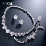 ZAKOL Classic Zirconia Wedding <b>Jewelry</b> Sets Flower Shaped 4 pcs <b>Jewelry</b> For Women Anniversary Party Show FSSP225
