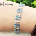 Luxurious double rows <b>silver</b> gemstone <b>bracelet</b> for woman 22 pcs 4*6mm top quality natural topaz gemstone solid <b>silver</b> <b>bracelet</b>