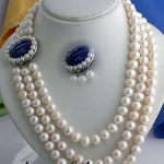 10×10 jewerly free shipping Charming 7-8mm white pearl Lapis Lazuli clasp necklace <b>bracelet</b> JL