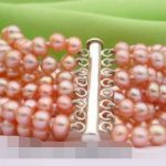 FREE SHIPPING> 8strands round pink FW pearl <b>bracelet</b> bangle magnet
