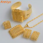 Anniyo New Ethiopian Gold Color sets Pendant Necklaces Earrings Bangle Ring Habesha <b>Jewelry</b> Eritrean Wedding Gifts #056502
