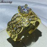 choucong <b>Handmade</b> Cross Lovers Engagement Wedding Band ring 5A zircon Cz 24KT Yellow gold filled Rings For Women men <b>Jewelry</b>