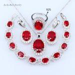 L&B <b>Silver</b> color Red created Garnet Cubic Zircon Jewelry Sets Long Drop Earrings Pendant Necklace Ring <b>Bracelet</b> For Women