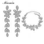 Minmin Leaf Crystal <b>Jewelry</b> Sets Bridal Bracelets Earrings Sets African Beads <b>Jewelry</b> Sets Prom Wedding <b>Jewelry</b> SL046+EH282