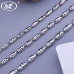 WK NEW Thick Olives Beads 925 Sterling <b>Silver</b> Men <b>Necklace</b> Male Boys Jewelry <b>Necklaces</b> 18 20 22 24 Inch 3MM 4MM 5MM 6MM W3 NM009