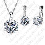JEXXI Drop Shipping Shinning Attractive <b>Fashion</b> <b>Jewelry</b> Set 925 Sterling Silver CZ Necklace Dangle/Hoop Earrings Sets For Women