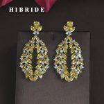 HIBRIDE Brand Yellow Blue Clear CZ Stone Brincos Drop Earrings For Women <b>Jewelry</b> <b>Fashion</b> Dangle Earrings Boucle d'oreille E-678