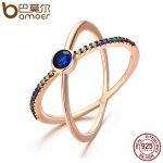 BAMOER Design New 925 Sterling Silver & Gold Sparking Galaxy Crystal Double Layer Finger Rings for Women Wedding <b>Jewelry</b> SCR119