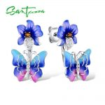 SANTUZZA <b>Silver</b> Butterfly Earrings For Women 925 Sterling <b>Silver</b> Earrings <b>Silver</b> 925 Cubic Zirconia brincos <b>Jewelry</b> Enamel