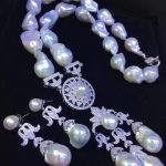 fine women jewelry bridal jewelry set natural fresh water pearl necklace and <b>earring</b> big pearls free shipping