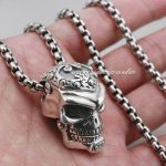 Solid 925 Sterling <b>Silver</b> Skull Mouth Openable Mens Biker Pendant 8C011(<b>Necklace</b> 24inch)