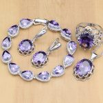 Natural <b>Silver</b> 925 Jewelry Sets Purple Cubic Zirconia Stone Jewelry For Women Earrings/Pendant/Necklace/Open Rings/<b>Bracelet</b>