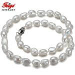 White Natural Baroque Pearl Necklace for Women Anniversary <b>Jewelry</b> 7-8MM Freshwater Pearls <b>Handmade</b> Choker Dropshipping FEIGE