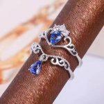 Natural tanzanite gem Ring Natural gemstone Ring 925 <b>sterling</b> <b>silver</b> Stylish elegant two wears Crown water drop women <b>Jewelry</b>