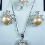 Prett Lovely Women's Wedding wholesale simple yellow shell pearl silver plated pendant earring and ring(#7.8.9) <b>jewelry</b> set 002