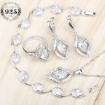 Pure White Zircon Bridal Women <b>Silver</b> 925 Jewelry Sets <b>Bracelets</b> Pendant Necklace Earrings Rings Set Jewelery Gift Box