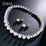 ZAKOL Trendy Imitation Pearl Bridal Wedding <b>Jewelry</b> Sets AAA Cubic Zircon Earrings <b>Necklace</b> Set For Women Factory P[rice FSSP024