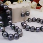 wedding Women Jewelry set 12mm Black Colors Pearl Gray Blue Brown Mixed <b>bracelet</b> Earring Natural Freshwater Pearl