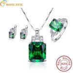 BONLAVIE 925 <b>Sterling</b> <b>Silver</b> <b>Jewelry</b> Set For Women Emerald Pendant Earrings Rings 6/7/8/9 Classic <b>Jewelry</b> Set For Wedding Gift