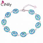 CiNily Created Blue Fire Opal Blue Stone <b>Silver</b> Plated Wholesale 2018 NEW for Women Jewelry Chain <b>Bracelet</b> 7 1/4″-9 1/4″ OS493