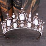 Vintage Black Gold Queen Crystal Diadem Tiara Bridal <b>Wedding</b> Big Crown Hair Accessories pearl Rhinestone tiara Hair <b>Jewelry</b>