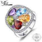 JewelryPalace luxury 4.5ct Genuine Amethyst Garnet Peridot Blue Topaz Ring For Women Pure 925 <b>Sterling</b> <b>Silver</b> <b>Jewelry</b> Party Gift