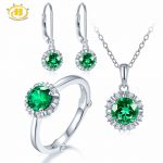 Hutang Natural May Birthstone Created Emerald Solid 925 <b>Sterling</b> <b>Silver</b> Ring Pendant Earrings Gemstone <b>Jewelry</b> Sets Presents