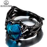 HOBBORN Classic Women <b>Antique</b> Ring 316L Stainless Steel Black Color Heart Cubic Zirconia Luxury Female Rings Finger <b>Jewelry</b> Gift
