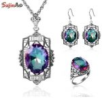 Szjinao Classic Fashion Solid 925 <b>Sterling</b> <b>Silver</b> <b>Jewelry</b> Sets with Rainbow Mystic Topaz for Women Costume <b>Jewelry</b>