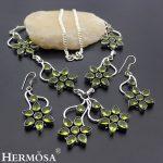 Hermosa Jewelry Fashion Flower Shape Peridot 925 Sterling <b>Silver</b> women <b>Necklace</b> + Earrings 18 inches HM116