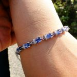 Elegant Women Bracelet&Bangles with Tanzanite Color Stone <b>Silver</b> Chain Link Bracelet 7″ for Ladies, Shining 925 <b>Silver</b> <b>Jewelry</b>