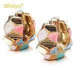 Ethlyn <b>Fashion</b> Women Multicolor Geometric Earrings 2018 Nigeria/African Female <b>Jewelry</b> Accessories Hollow Ethnic Hoop Earrings