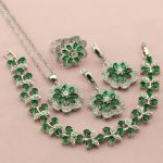 Women's Green Cubic Zirconia Silver Color Wedding <b>Jewelry</b> Sets For Bridal Earrings <b>Necklace</b> Ring Bracelet Free Jewellry Box