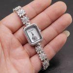 Women Quartz Wristwatch <b>Sterling</b> <b>Silver</b> Natural Whitetopaz Rectangle Watch Lady Bracelet Nice <b>Jewelry</b> 8 Inches FREE SHIPPING