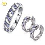 Hutang Classic Natural Tanzanite Gemstone Solid 925 Sterling <b>Silver</b> Jewelry Sets <b>Earrings</b> & Ring Women's Fine Jewellry Gift