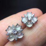 natural white jade stud <b>earrings</b> 925 sterling <b>silver</b> natural Ice emerald <b>earrings</b> fashion Square cross women party fine jewelry