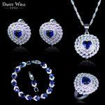 Trendy Heart Square Blue Cubic Zircon White CZ 925 Stamp <b>Silver</b> Color Jewelry Sets For Women Earrings/Pendant/Necklace/<b>Bracelet</b>