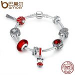BAMOER 925 <b>Sterling</b> <b>Silver</b> Chinese New Year Lantern,Doll, Clear CZ & Red Enamel Charm Bracelet <b>Sterling</b> <b>Silver</b> <b>Jewelry</b> PSB011