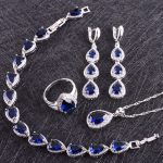 Blue Cubic Zirconia White Rhinestones 925 Sterling <b>Silver</b> Jewelry Sets For Women Earrings/Pendant/Necklace/Rings/<b>Bracelet</b>