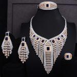 GODKI 119MM Long Tassel Drop Luxury Women Bridal Cubic Zirconia Ring Bangle <b>Necklace</b> Earring Dubai <b>Jewelry</b> Set Jewellery Addict