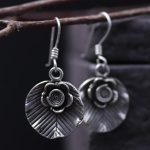 925 sterling silver art flowers leaf earrings <b>handmade</b> retro Thai silver earrings female <b>jewelry</b>