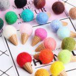 20PCs <b>Handmade</b> Wool Felt 3D Cute Ice Cream Craft Button Patch Sticker Material Fit Girls Hair <b>Jewelry</b> Ornament Accessories Decor